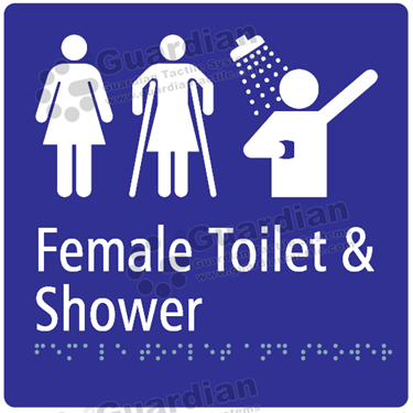 Female Toilet Disabled and Shower in Blue (180x180) [GBS-03FFATS-BL]