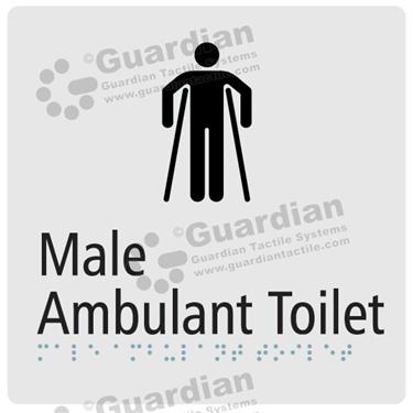 Male Ambulent Toilet in Silver (180x180) [GBS-03MAT-SV]