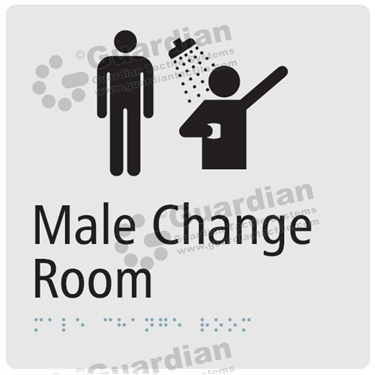 Male Change Room and Shower in Silver (180x180) [GBS-03MCRS-SV]