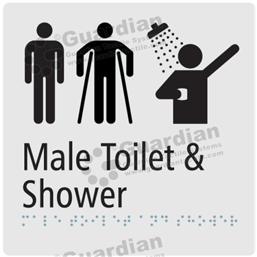 Male Toilet Disabled and Shower in Silver (180x180) [GBS-03MMATS-SV]