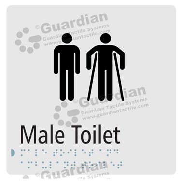 Male and Male Ambulant Toilet in Silver (180x180) [GBS-03MMAT-SV]