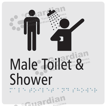 Male Toilet and Shower in Silver (180x180) [GBS-03MTS-SV]