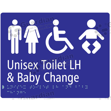 Unisex Toilet LH and Baby Change in Blue (230x180) [GBS-03UTLHBC-BL]