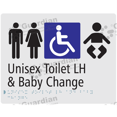 Unisex Toilet LH and Baby Change in Silver (230x180) [GBS-03UTLHBC-SV]