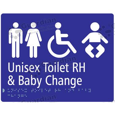 Unisex Toilet RH and Baby Change in Blue (230x180) [GBS-03UTRHBC-BL]