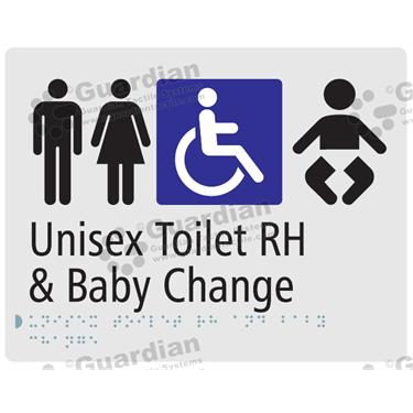 Unisex Toilet RH and Baby Change in Silver (230x180) [GBS-03UTRHBC-SV]