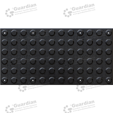 FRP Warning Tactile with Adhesive & Mechanical Fixings (600x300mm) - Black [GTS600300-FRB]