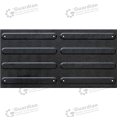FRP Directional Tactile with Adhesive & Mechanical Fixings (600x300mm) - Black [GTS600300-FRBD]